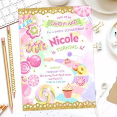 Free Printable Candyland Invitations Best Of Candyland Party Invitation Candy Land Birthday by Candy Theme Birthday Party, Candy Party, Birthday Party Invitations, Birthday Sweets, Diy Birthday, Birthday Ideas, Candy Invitations, Printable Invitations, Party Printables