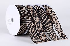 Animal Print Burlap Ribbons 1-1/2 inch x 10 Yards  Perfect for making hair bows, wrapping, and etc