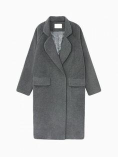Buy Deep Gray Longline Wool Coat from abaday.com, FREE shipping Worldwide - Fashion Clothing, Latest Street Fashion At Abaday.com