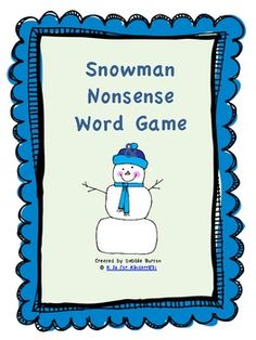Snowman Nonsense Word Game Freebie - K is for Kinderrific - TeachersPayTeachers.com