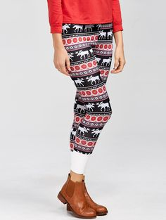 Fawn Color Block #Christmas Leggings with an #elk