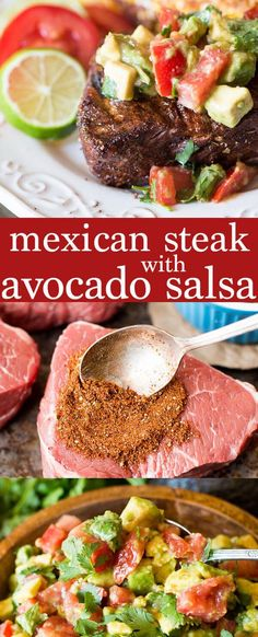 An easy spice blend makes this Mexican steak a quick, healthy dinner solution. Top with cream avocado salsa for a family-friendly Paleo and Whole30 recipe idea! Gluten free, dairy free, sugar free, grain free.