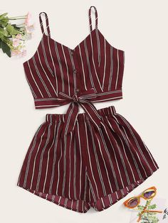 Shein Striped Button & Tie Front Cami Top With Shorts - Shein Striped Button & Tie Front Cami Top With Shorts Source by - Teenage Girl Outfits, Girls Fashion Clothes, Teen Fashion Outfits, Teenager Outfits, Cute Fashion, Outfits For Teens, Preteen Fashion, Style Clothes, Fashion Fashion