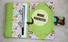 E-reader nook cover with pockets Nook Cover, Recycling, Sew, Pockets, Technology, Projects, Pattern, Accessories, Tech