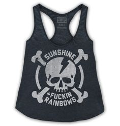 Sunshine and fuckin' rainbows! Racerback tank top in our new premium triblend fabric.