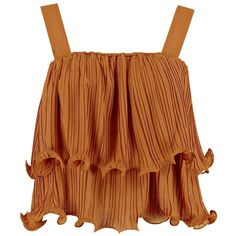 Katie Pleat Detail Frill Cami Top ($13) ❤ liked on Polyvore featuring tops, flutter-sleeve top, ruffle top, brown cami top, camisole tank tops and ruffle tank