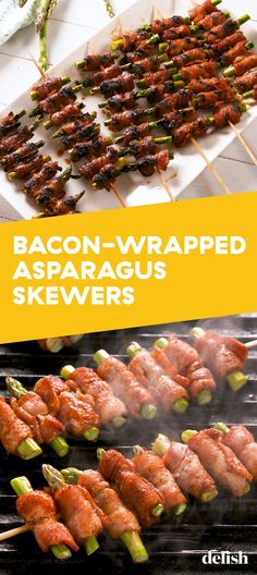 Grilled Bacon-Wrapped Asparagus Skewers Are Even B. - Grilled Bacon-Wrapped Asparagus Skewers Are Even Better Than Disneyland'sDelish Source by puesome Skewer Recipes, Veggie Recipes, Appetizer Recipes, Healthy Recipes, Grilled Bacon Wrapped Asparagus, Grilled Asparagus Recipes, Grilling Recipes, Cooking Recipes, Vegetarian Grilling