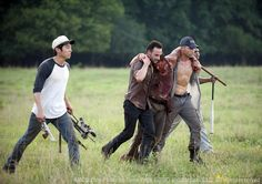 "The Walking Dead S2EP5 I love when they pick him up and he's says ""I was kidding"" in this scene"