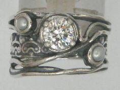 Boho silver ring cz Israeli typical jewelry