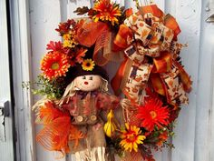 Fall~Scarecrow~ Door~Wreath~Bow~Mesh~~Leaves~Gourds~Flowers