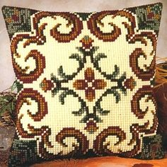 """Geometrical"" counted cross-stitch cushion kit by Vervaco ( Cross Stitch Borders, Cross Stitch Kits, Cross Stitch Charts, Cross Stitch Designs, Cross Stitching, Cross Stitch Embroidery, Cross Stitch Patterns, Broderie Bargello, Cross Stitch Cushion"