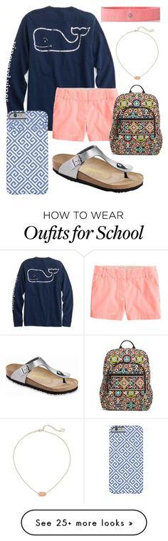 """School outfit"" by jadenriley21 on Polyvore featuring J.Crew, lululemon, Birkenstock, Kendra Scott and Vera Bradley"