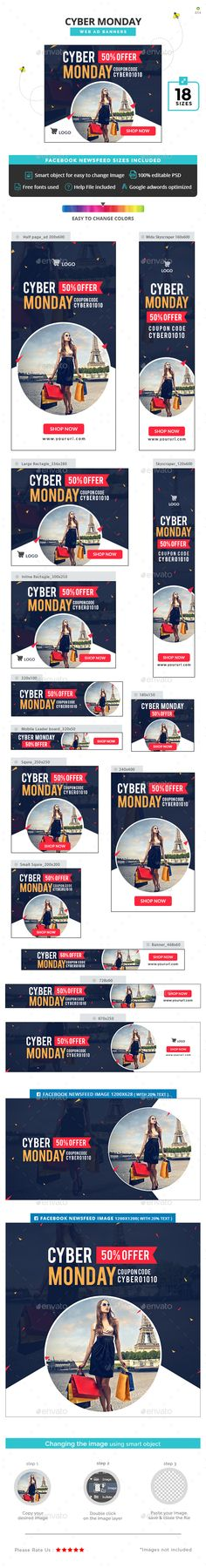 Cyber Monday Banners Template PSD #design #ad