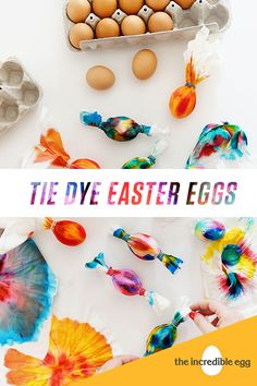 Put your own spin on the traditional Easter pastel palette with bright, bold tie-dye eggs, courtesy of P. Spring Crafts, Holiday Crafts, Holiday Fun, Easter Activities, Easter Crafts For Kids, Easter Ideas, Tie Dyed Easter Eggs, Hoppy Easter, Easter Bunny