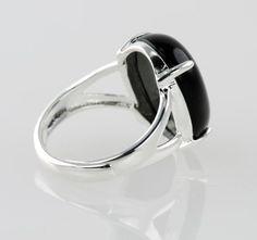 Black Onyx Oval Ring Adjustable Size Sterling Silver Base