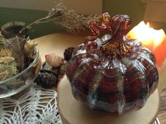 Autumn Swirl~ blown glass pumpkin by TheSHIPofFOOLS on Etsy
