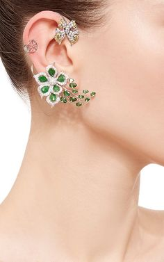 Wendy yue earrings  with buterflies and greenest emerald and diamond flowers..... Gorgeous.