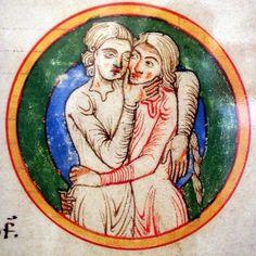 a couple embracing. ca. 1200, Millstatt Abbey (Carinthia - Austria) Kärntner Landesarchiv