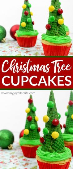 A fun and easy to make Christmas treat that will impress your guests - Christmas Tree Cupcakes #cupcakes #recipe #Christmastreat