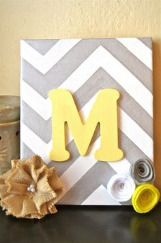 Monogram Chevron Canvas with Handcrafted Flowers by TheKeenCanvas, $14.99