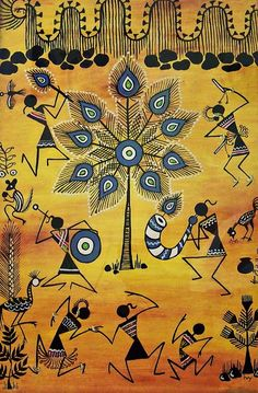 Tribal warli art. Geometric designs are the dominant patterns in Warli paintings. Warli art is known for its monochromatic depictions that express the folk life of socio-religious customs, imaginations and beliefs.