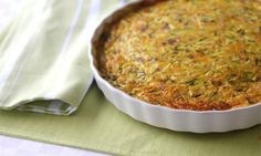 This delicious zucchini bake is full of healthy veggies and bacon and is a perfect light lunch with a side salad. Cut it into slices and pop it into lunchboxes for grown ups or bake it into muffins for an easy kids lunchbox solution. Side Dish Recipes, Dinner Recipes, Side Dishes, Meal Recipes, Lunch Recipes, Recipies, Quiche Dish, Frittata, Baking Recipes