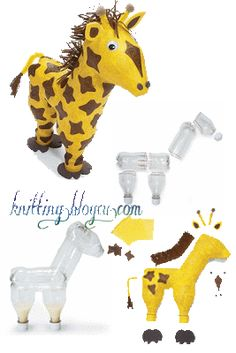 Craft Cute: IDEAS FOR RECYCLING PET BOTTLES Plastic Bottle Crafts, Recycle Plastic Bottles, Recycled Bottles, Recycled Crafts, Paper Mache Animals, Art In The Park, Paper Mache Crafts, Tree Wall Decor, Pet Bottle