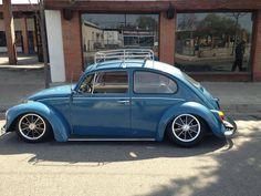 Blue early vw beetle cal look