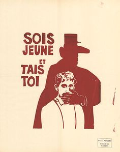 posters charles de gaulle: be young and shut up - atelier populaire (paris) - 1968 - social history shop