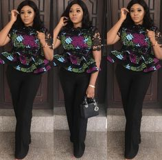 Latest Ankara styles in vogue.There are thousand and one styles on how you can rock your Ankara styles.The above styles can make head turn toward you Nigerian Dress Styles, Blouse Styles, Ankara Tops, Ankara Blouse, Nigerian Lace, Peplum Blouse, South African Fashion, African Print Fashion, Womens Fashion