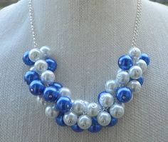 Blue and White Pearl Cluster Necklace by RadiantByRetha