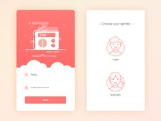 Login & Choose Gender illustration gender app radio fm page guide login Web Design, Login Page Design, App Ui Design, User Interface Design, Flat Design, Mobile Application Design, Mobile Ui Design, App Login, App Design Inspiration
