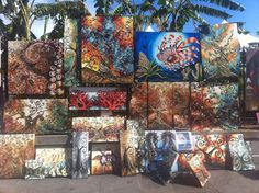 Art in Jackson Square. These canvases are by artist Annie Walker