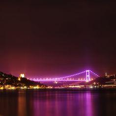 Bosphorus Bridge by #night, #Istanbul, Turkey - جسر البسفور ليلا، #اسطنبول