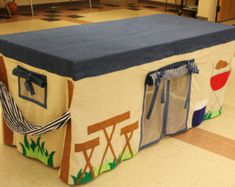 Made to order Camping Tent Custom Tablecloth fort - playhouse fits over dining… Card Table Playhouse, Outside Playhouse, Build A Playhouse, Cubby Houses, Play Houses, Sewing For Kids, Diy For Kids, Toddler Playhouse, Diy Dining Room Table