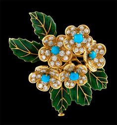 BOUCHERON Diamond, Turquoise Flower Pin