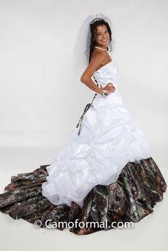 Tessa - White Organza and Mossy Oak Trim hell yes! Shawn would fall twice in love for me!;)