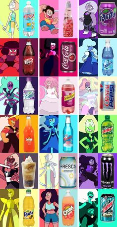 Gem Soft Drinks << it's funny BC sugilite is NIKKI minaj who has a song called monster.The drink is monster too << I would swap lapis drink and sapphire tho Steven Universe Pilot, Steven Universe Theories, Steven Universe Diamond, Steven Universe Funny, Universe Art, Steven Univese, Pearl Steven, Steven Universe Pictures, Fanart