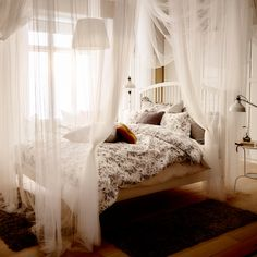 An elegant bedroom canopy - you'd be surprised how easy it is to achieve.