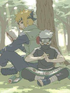 Minato and Kakashi Kakashi Sensei, Naruto Cute, Naruto Shippuden Sasuke, Naruto And Sasuke, Team Minato, Naruto Teams, Otaku Anime, Manga Anime, Naruto Fan Art
