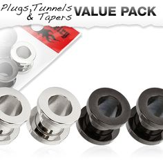 4 Pcs Value Pack of Steel and Black Titanium IP Over 316L Stainless Steel Screw Fit Tunnels