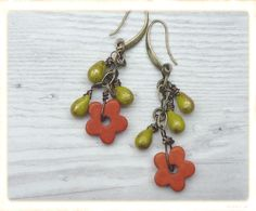 Red flower earrings cute red earrings red and by catchmearainbow