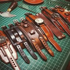 Long weekend finishing up work before I head overseas tomorrow for a couple weeks! Goodbye for now. Leather Carving, Leather Art, Custom Leather, Leather Cuffs, Leather Belts, Leather Tooling, Leather Jewelry, Leather Wallet, Leather Watches