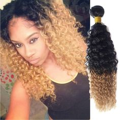 3Bundles Brazilian Ombre Human Hair Extension 50g/pc,Curly Wave 1B/27# Hair Weft #WIGISS #HairExtension