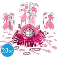 Pink Safari Baby Shower Table Decorating Kit - Party City