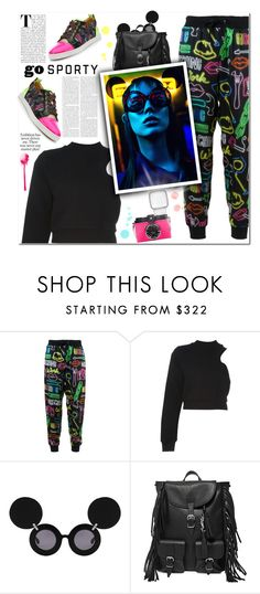 """""""Go Sporty !"""" by vampirella24 ❤ liked on Polyvore featuring Moschino, T By Alexander Wang, Linda Farrow, Yves Saint Laurent and Christian Louboutin"""