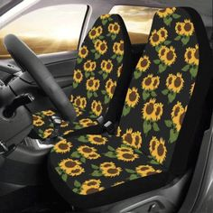Bench Seat Covers, Car Seat Cover Sets, Car Covers, Sunflower Accessories, Cool Car Accessories, Vehicle Accessories, Yellow Car, Black N Yellow, Car Seat Protector