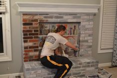 Most up-to-date Free Brick Fireplace decor Strategies Often it compensates to help neglect a renovate! Rather then extracting the aged brick fireplace , lower your expenses n White Wash Brick Fireplace, Red Brick Fireplaces, Fireplace Update, Paint Fireplace, Brick Fireplace Makeover, Living Room With Fireplace, Fireplace Mantels, Brick Wall, Fireplace Whitewash
