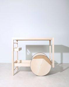 Bar Trolley by French studio Dessuant Bone. Hallway Furniture, Wood Furniture, Furniture Design, Outdoor Furniture, Furniture Sets, Interior Wallpaper, Home Wallpaper, Wallpaper Magazine, Home Design