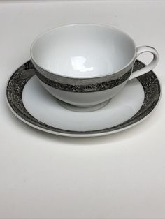 Arita Japan Hand PaintedTeacup & Saucer Set Silver Trim Flower Motif #Arita Tea Cup Set, Grenada, Trinidad And Tobago, Japan, Flower, Silver, Ebay, Granada, Money